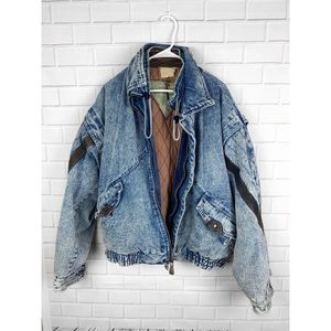 VINTAGE 80s Acid Wash Denim Bomber Jacket Leather